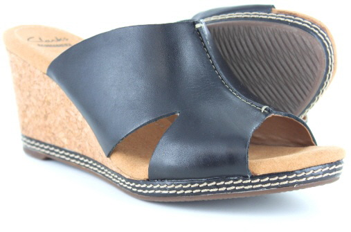 The Shoe Company Wedge Sandals Black Leather Cork